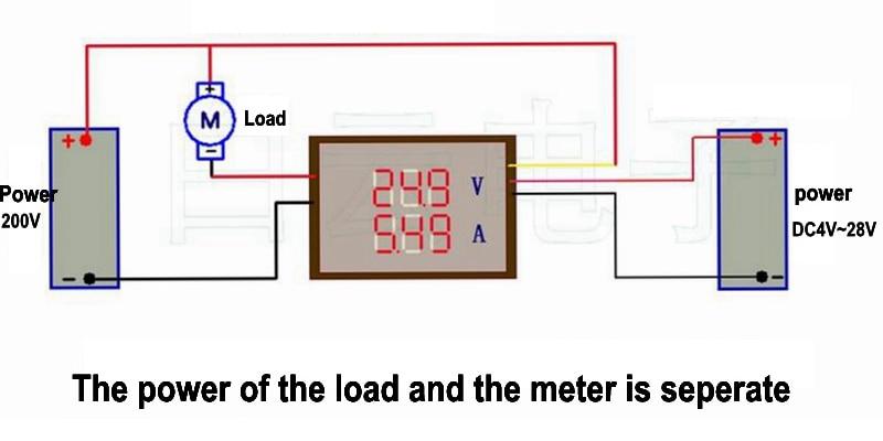 Digital DC 200V 0-10A Voltmetru Ammetru Red Blue Blue LED Display - Instrumente de măsurare - Fotografie 6