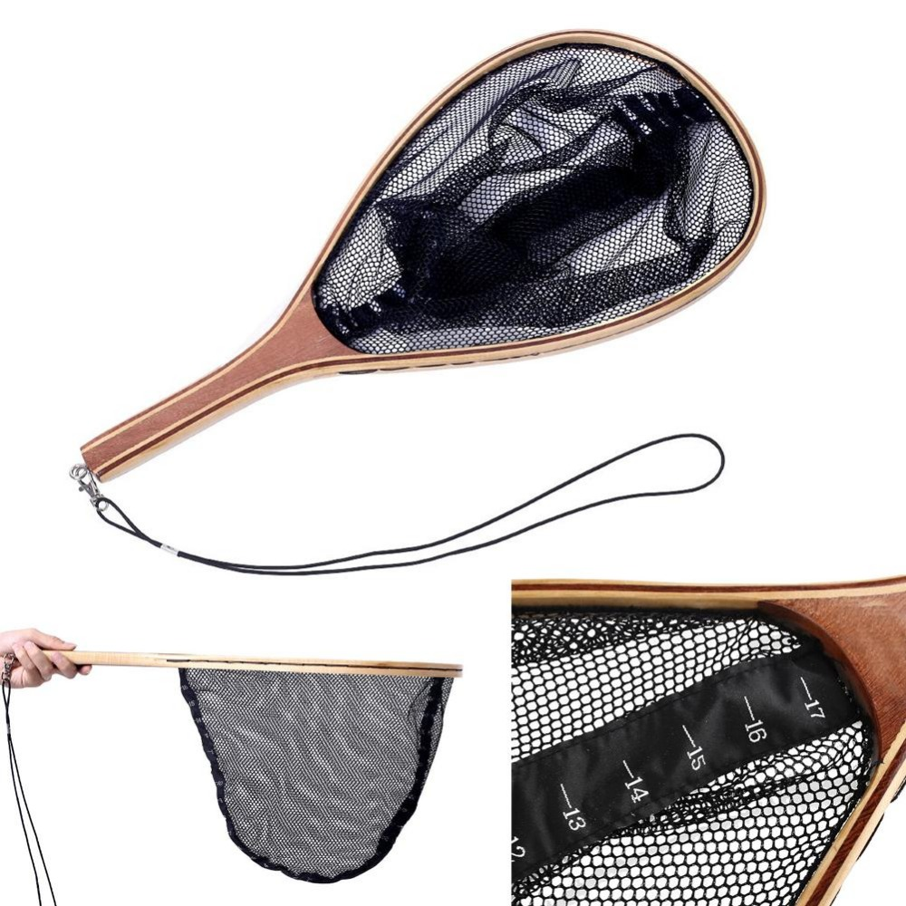 Relefree Wooden Fly Fishing Trout Landing Nylon Net Mesh Bag Catch and Release SF Vintage Frame Sports
