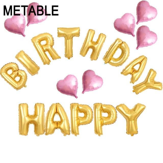Metable 20 Pcs Ensemble 16 Joyeux Anniversaire Lettre Feuille