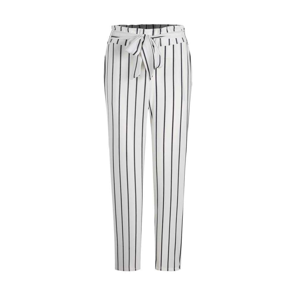 Skinny Women Striped Long Jeans Tie High Waist Female Lace Up Casual Pants Fashion Trousers with