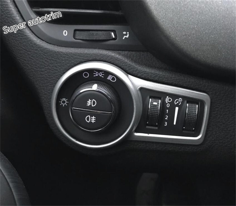 Lapetus Front Head Lights Lamp Switches Button Frame Cover Trim ABS Fit For <font><b>Jeep</b></font> <font><b>Compass</b></font> 2017 2018 <font><b>2019</b></font> Red / Blue / Matte Look image
