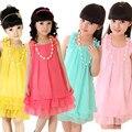 Chiffon meninas vestido colar atacado moda adolescente festa de férias de praia vestido de verão crianças bebê gril roupa das crianças 2-14 anos