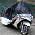 Waterproof Outdoor UV Protector Motobike Rain Dust Cover Bike Motorcycle Cover Black and Silver Size L