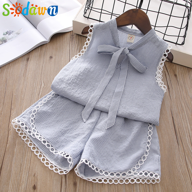 4433b2d3f6de Sodawn Summer New Children Clothing Wear Girls Fashion Plaid Tank + ...
