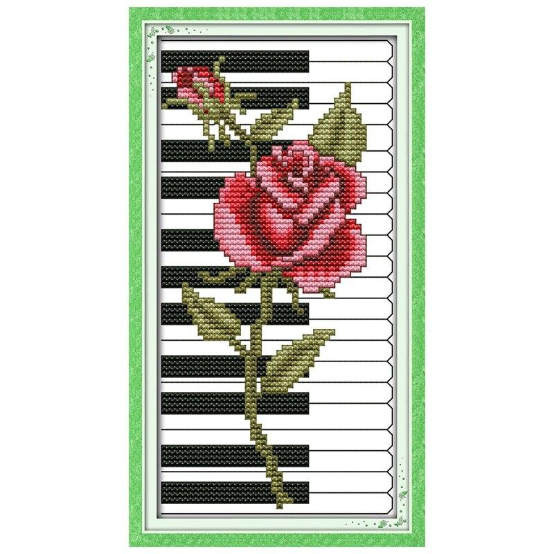 Czerwona Róża Fortepian Wzory Counted Cross Stitch 11ct