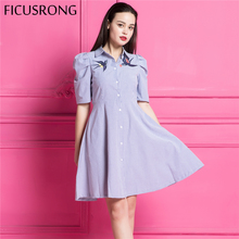 FICUSRONG Cute swallow embroidery dress women Turn-down causal striped dress summer half sleeve high waist dress vestidos
