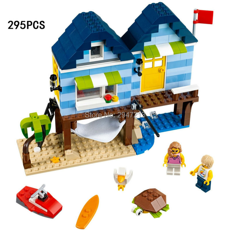 hot compatible LegoINGlys city mini Street View Building blocks Beach Resort surfing with figures brick Toys for children gift lepin17001 city street tai mahal model building blocks kids brick toys children christmas gift compatible 10189 educational toys