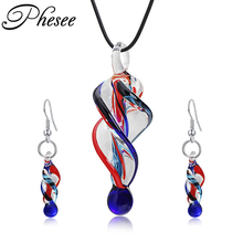 Phesee Fashion Brand New Coloured Glaze Jewelry Set Spiral Tornado Element Pendant Necklaces Dangle Earrings Brinco for Women