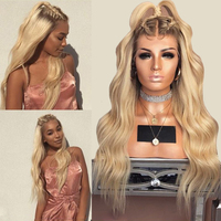 DLME 180% Density Long Wavy Wig High Temperature Glueless Synthetic Lace Front Wig With Natural Hairline Blonde Wig For Women