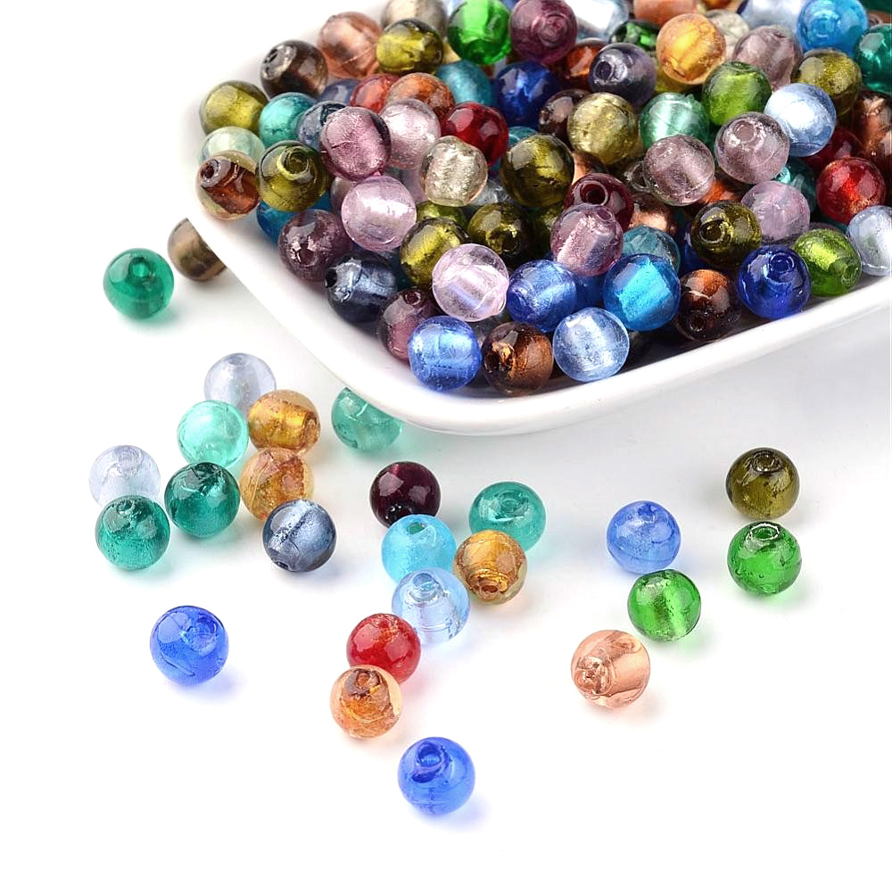 Pandahall Beads: Pandahall Handmade Silver Foil Glass Beads, Round, Mixed