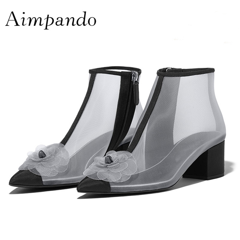 2019 Sexy Transparent Mesh Ankle Boots Woman Pointed Toe Flower Chunky High Heel Shoes Women Fashion