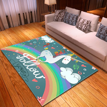Nordic style 3D Unicorn Print Carpet Cartoon Animal Kids Bedroom Play Mats Flannel Memory Soft Carpets for Living Room Area Rugs