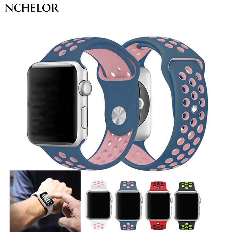 Brand rubber belt for apple watch with Light weight Flexible Breathable silicone strap for iWatch sport band official color цвета apple watch 4