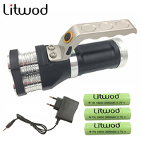 z30 LED flashlight 3 PCS XM L T6 beads Rechargeable Portable Light Hand Lamp 12000LM 3 model led torch AC charger+ 3 batteries