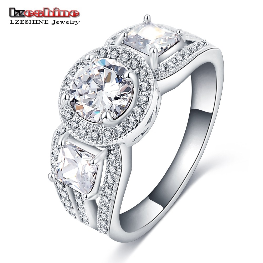 LZESHINE Brand 2016 New Style Engagement Ring Silver Color