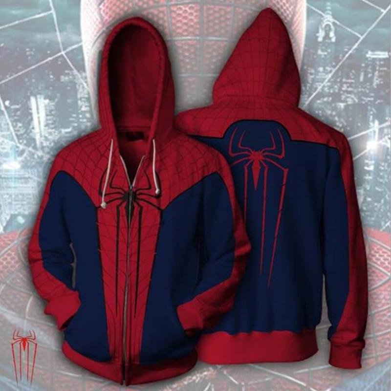 Superhero The Amazing Spiderman Red Spider Man 3D Print Hoodies Sweatshirts Cosplay Hooded Casual Coat Jacket