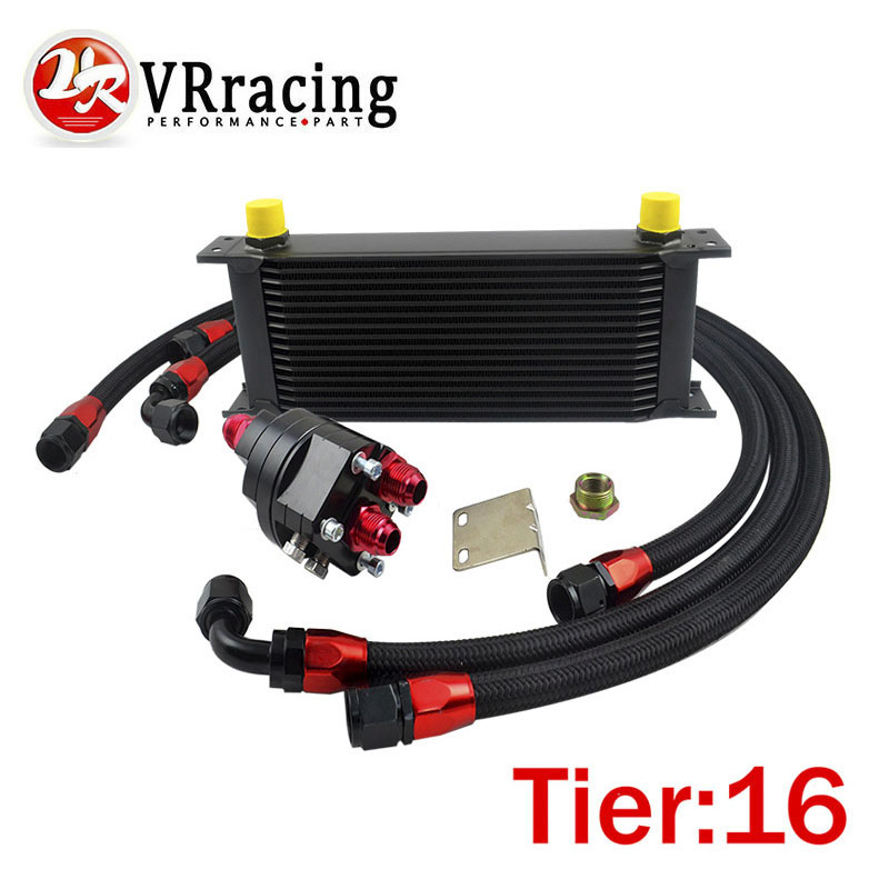 VR RACING UNIVERSAL 16 ROWS ENGINE OIL COOLER ALUMINUM OIL FILTER COOLER RELOCATION KIT 3X BLACK