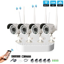 Plug and Play 4CH 1080P HD Wireless NVR Kit P2P 720P Indoor Outdoor IR Night Vision Security 1.0MP IP Camera WIFI CCTV System