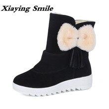 Xiaying улыбка зимы женские зимние ботинки теплые antieskid Ботильоны с бантом на платформе слипоны Туфли без каблуков Повседневное Для женщин из флока Сапоги на резиновой подошве