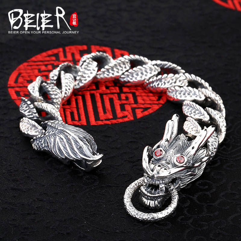 Domineering dragon link chain Beier sterling silver bracelet ruby animal hand chain