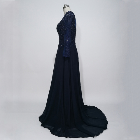 JIERUIZE Dark Navy Blue Long Sleeves Evening Dresses Lace Appliques Beaded Formal Dresses Mother of the Bride Dresses Karachi