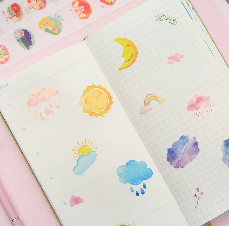 Kawaii Stickers Scrapbooking Travel Food Diary Sticker Bullet Journal Fower Stationery Sticky Notebook Deco Papelaria Pegatinas