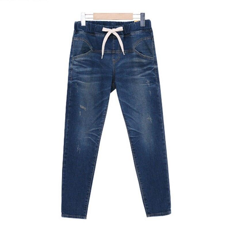 Lguc.H Large Size Women Stretch Jeans Elastic Waist Cotton Pencil Pants Big Size 100kg Fat MM Jeans Black Blue Brand XL 4XL 5XL