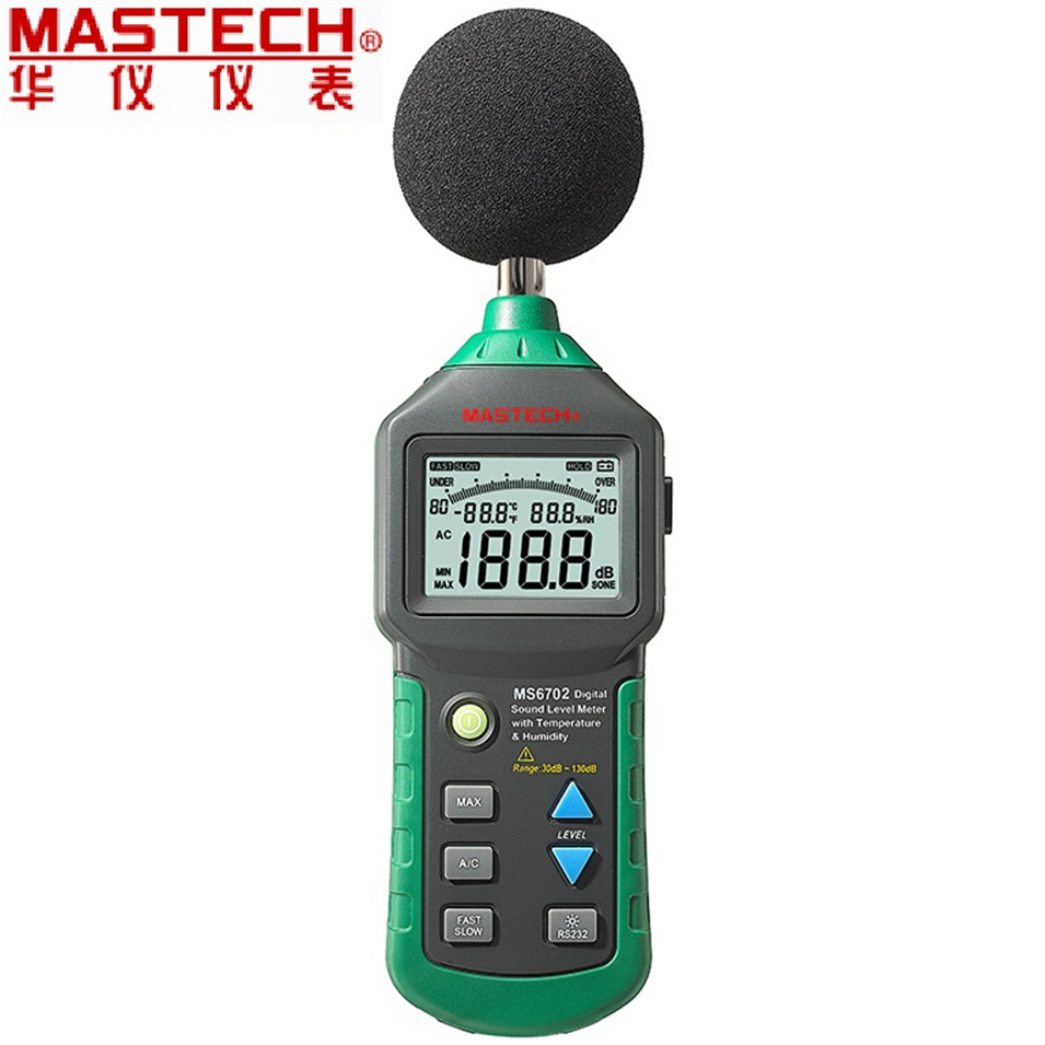 MASTECH MS6702 Digital Sound Level Meter Noise Meter dB Decible Meter Tester Temperature Humidity Meter Thermometer цена