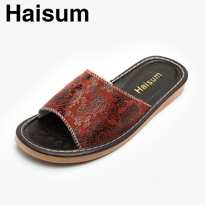 Ladies Slippers Spring And Summer Pu Home Indoor Slip Non-slip Slippers 2018 New Hot Haisum H-8806 men s slippers winter pu leather home indoor non slip thermal slippers 2018 new hot haisum h 8007