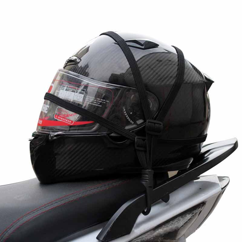 MAYITR Universal 60cm Motorcycle Luggage Mesh Strap Fixed Elastic Buckle Rope Motorcycle Helmet Net Bandage Black