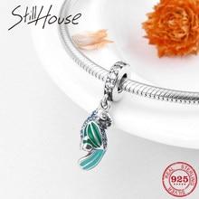 72b5372c5ed0 Real 925 espiritual pequeño loro verde esmalte encantos para joyería hacer  encajar encanto Original Pandora pulsera collares