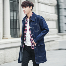 2019 Korean Mens Slim Fit Jean Jacket Mid-length Striped Pattern Trench Male Casual Joker Overcoat British Style Pocket