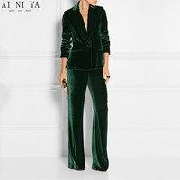 New Elegant Pant Suits Slim Women Office Business Suits Formal Work Wear 2 Pieces Sets Dark Green Velvet Ladies Trousers Suits