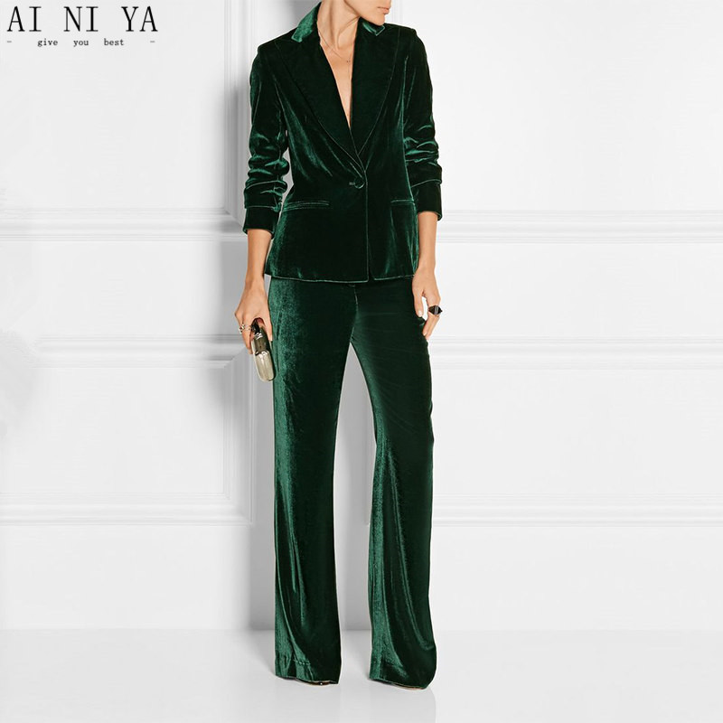New Elegant Pant Suits Slim Women Office Business Suits Formal Work Wear 2 Pieces Sets Dark Green Velvet Ladies Trousers Suits