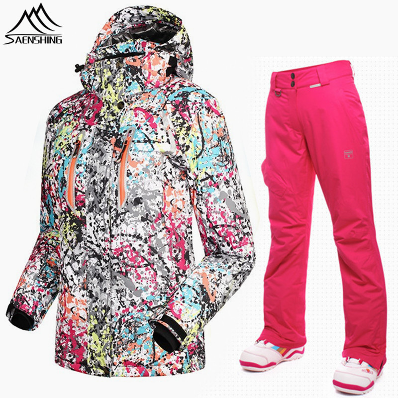 SAENSHING winter ski suit female Cotton Pad Warm waterproof snowboarding suits women outdoor skiing ski jacket+snowboard pant все цены