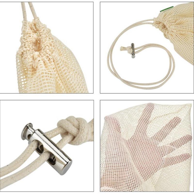 Polyester Mesh Cloth Stitching Vegetables Fruit Bag Sundries Storage Mesh Bag Repeatable Drawstring Mesh Bag