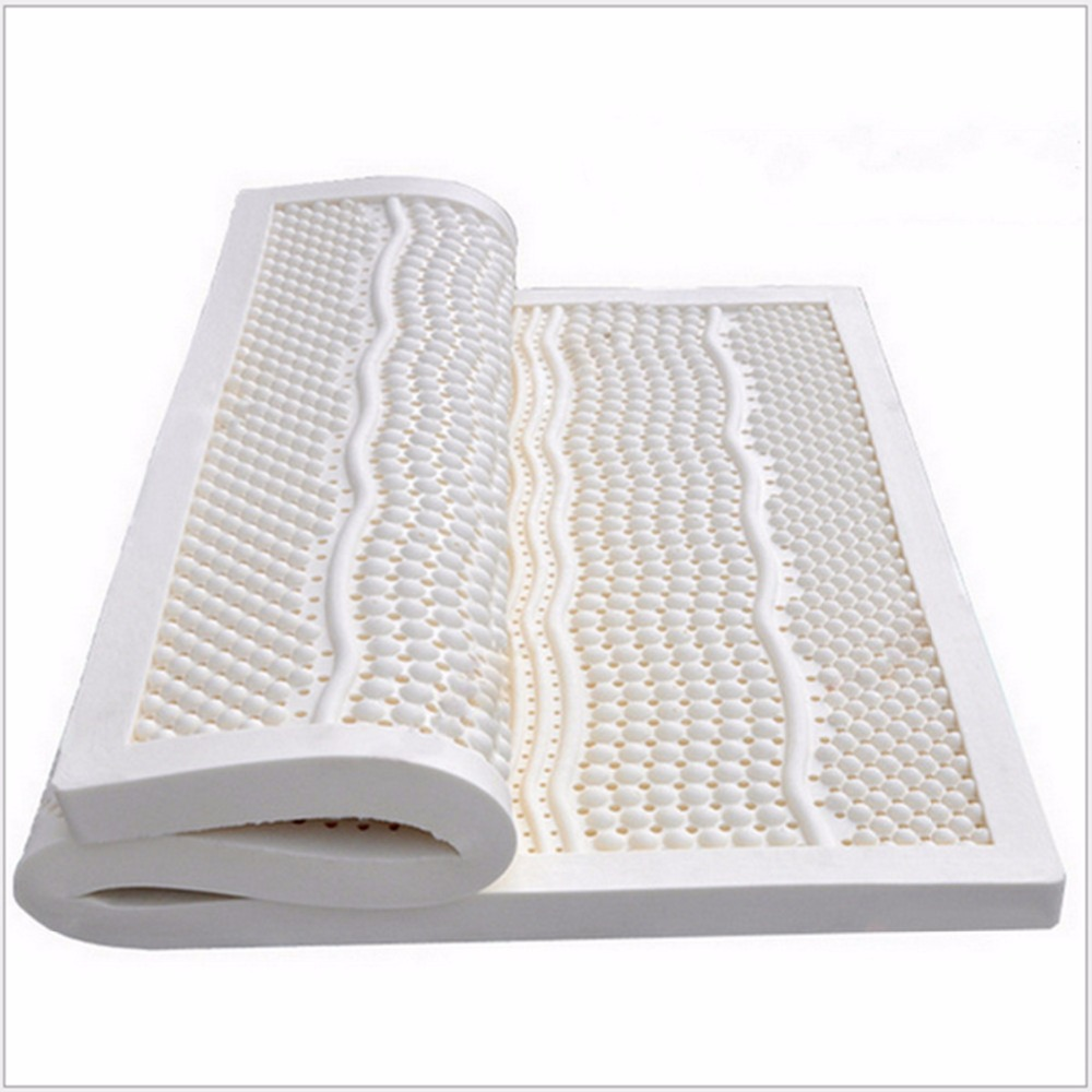 10CM Thickness Full/ Double Szie Seven Zone Mold 100%Natural Latex Mattress/Topper Size With White Inner Cover Medium Soft wfgogo thickness 23 cm spring mattress twin high density vacuum compression foam latex soft bed bedding