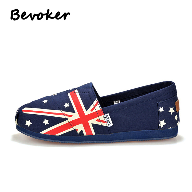 6d339ca160a38d Bevoker Classical Canvas Flat Shoes Man loafers Australia F Printed  Spring/Autumn Floral Shoes Men Plus Eu Size35-45