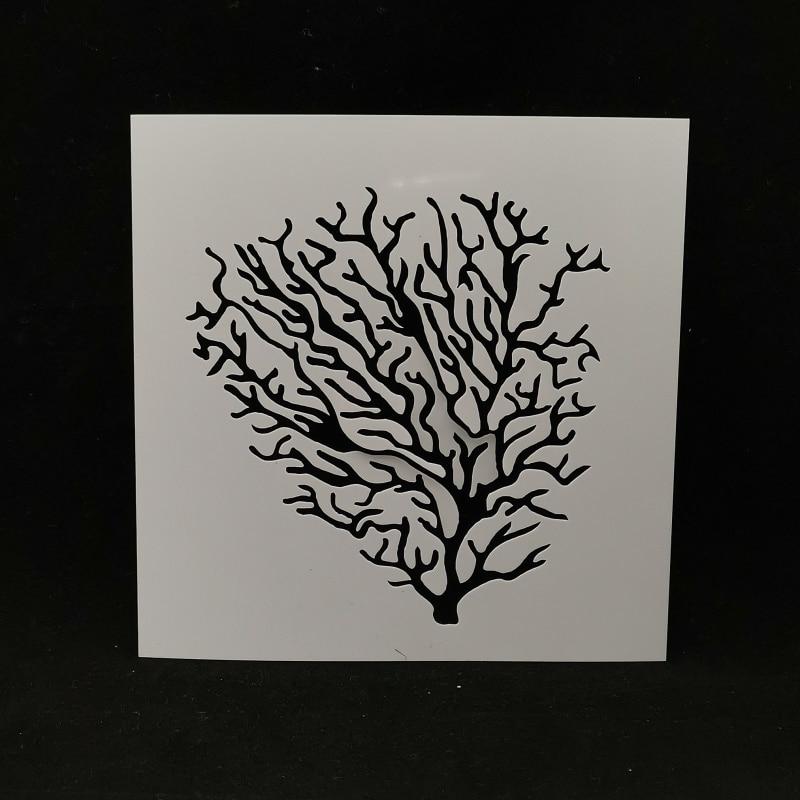 13*13 Coral Pvc Layering Stencils For DIY Scrapbooking/photo Album Decorative Embossing DIY Paper Cards Crafts