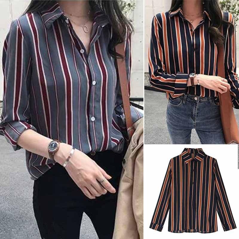 Women Striped Print Loose Lapel Blouse Vintage Long Sleeve 2019 Spring Casual Tops Turn-down Collar Female Shirt Plus Size 4XL-M худи xxxtentacion