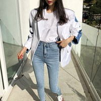 2018 Autumn Chic Patchwork Denim Striped Blazer Long Women Casual Blue/White Pockets Notched Jackets Outerwear