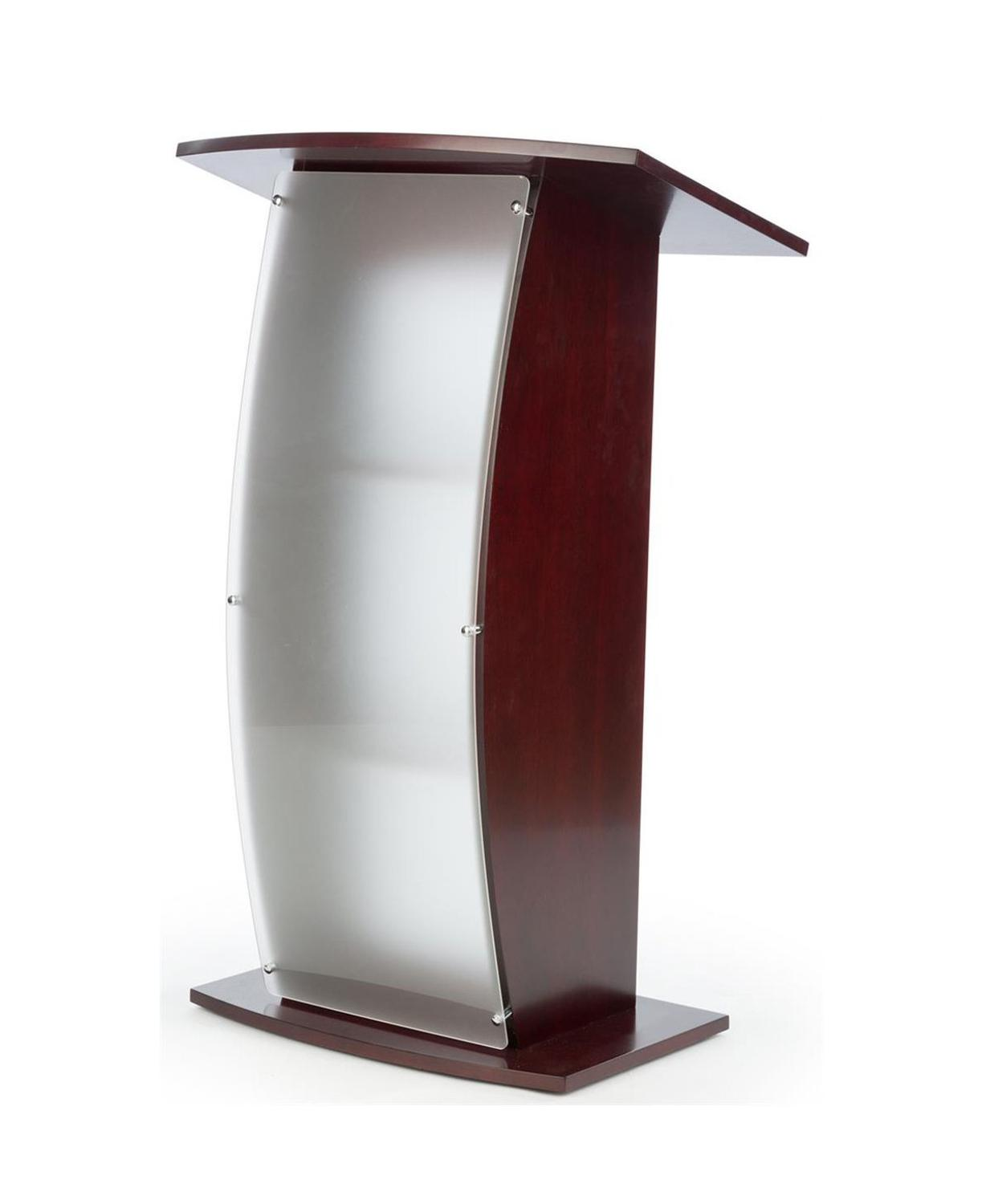 """Fixture Displays 44.25"""" Tall Podium for Floor  Curved Frosted Front Acrylic Panel   Red Mahogany