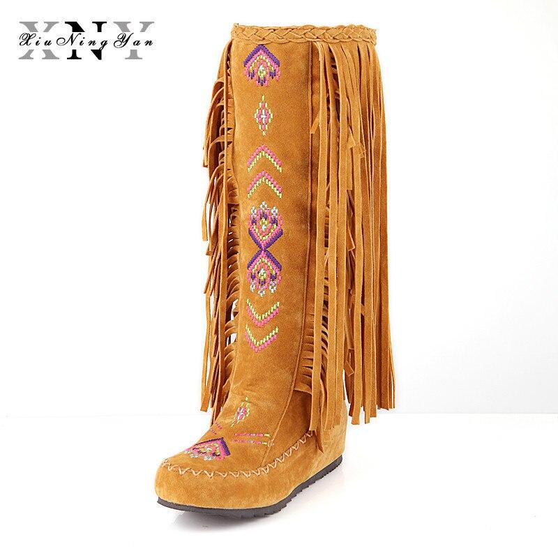 Зимние Модные сапоги китайской нации Стиль из флока Для женщин бахрома плоская подошва женская обувь с бахромой сапоги до колена высокие сапоги Большой размер 34-48