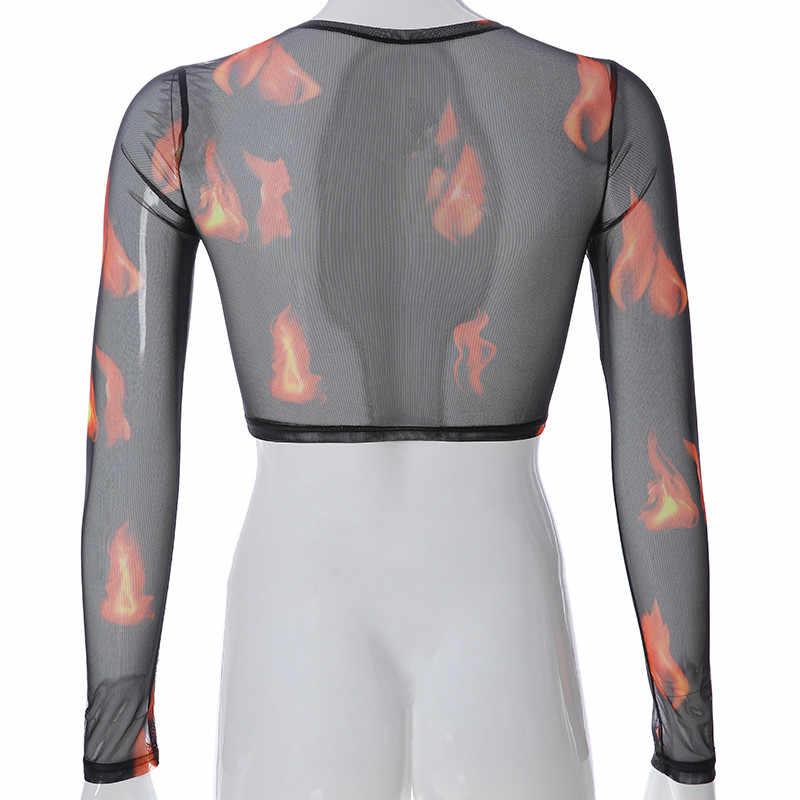 Harajuku, повседневная женская футболка с принтом пламени, сексуальный прозрачный длинный рукав, черный топ, летняя уличная одежда, укороченный топ, сетчатый в готическом стиле, футболка