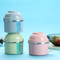 Japanese adult double round lunch box 304 stainless steel separated insulated lunch box lunch box food container ZP0122934