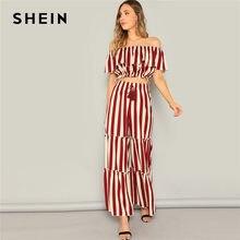 0e255eedb1 SHEIN Ladies Elegant Ruffle Detail Striped Bardot Crop Top And Tired Pants  Two Piece Set Women Spring Highstreet Matching Sets