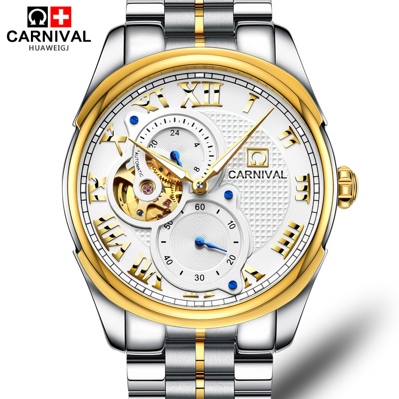 Luxury Carnival watch men skeleton sapphire Gold stainless steel waterproof Automatic machine watch relogio masculine luxury moon phase watch men sapphire glass stainless steel waterproof automatic machine date watch relogio masculine