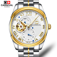 Luxury  Carnival watch men skeleton sapphire Gold stainless steel waterproof Automatic machine watch relogio masculine