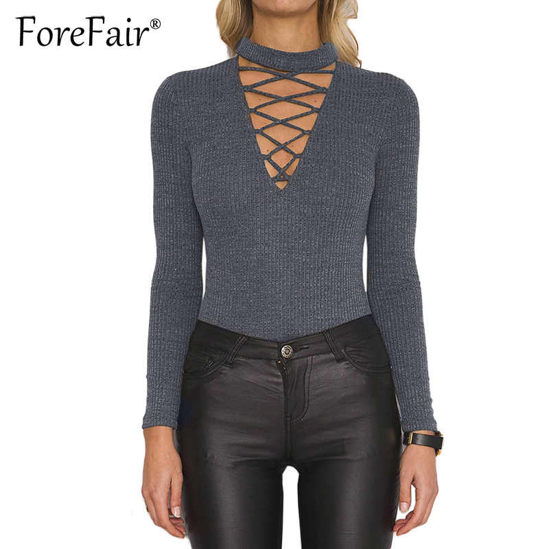 aee290841c2a Forefair Knitted Bodysuit Women 2018 Autumn Winter Long Sleeve Lace-up  Elastic Skinny Sexy Bodysuit