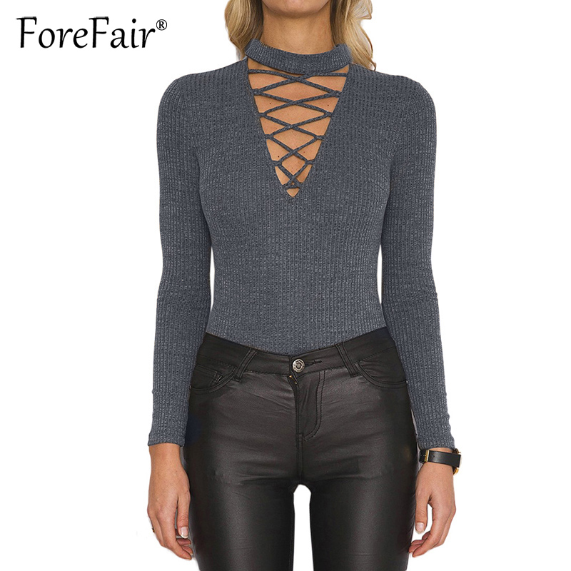 Forefair Knitted Cotton Bodysuit Autumn Winter Casual Slim Rompers Women Tops Sexy Criss Cross Lace up